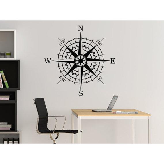 Compass Rose Wall Decal Vinyl Sticker Decals Nautical Compass Navigate Ship  Sticker Decall size 44x44 Color Black