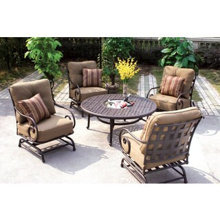 Darlee Malibu Cast Aluminum 5-Piece Conversation Set, 52 Inch Round Chat Table