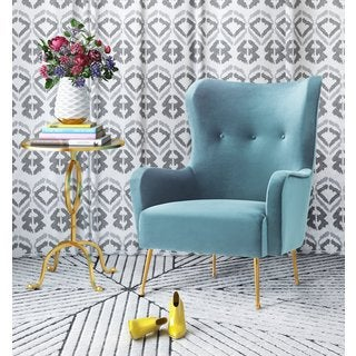 Ethan Sea Blue Velvet Chair with Gold Stainless Steel Legs