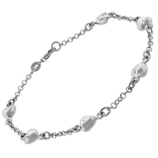 14k White Gold Fancy Puff Hearts Cable Link Charm Bracelet Chain