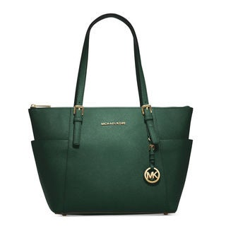 Michael Kors Jet Set Saffiano Leather East/West Top Zip Moss Tote Bag
