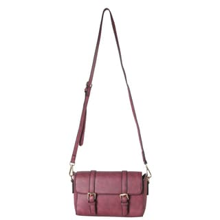 Diophy Double Buckle Flap Magnet Closure Crossbody Handbag