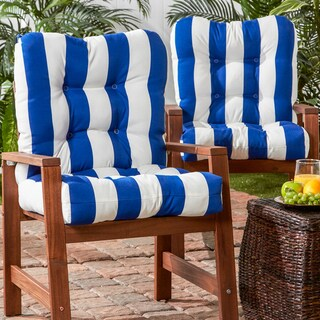 Blue/White Outdoor Seat/Back Chair Cushion (Set of 2)