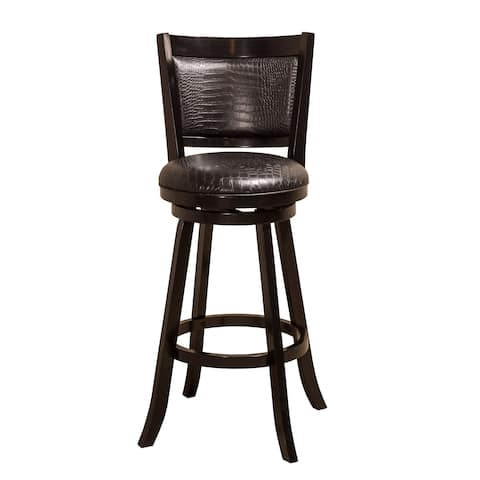 Hillsdale Furniture Brannon Black Faux Croc Leather Swivel Counter Height Stool