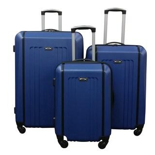 Kemyer Blue Lightweight 3-piece Hardside Spinner Luggage Set