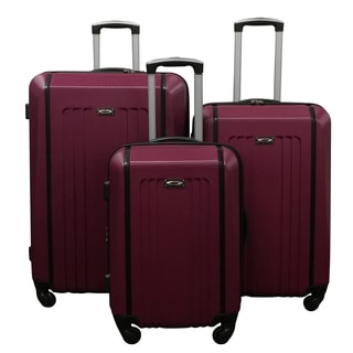 Kemyer Raspberry Lightweight 3-piece Hardside Spinner Luggage Set