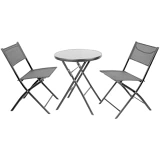 23.75-inch Round Tempered Glass Metal Outdoor Table with 2 Textilene Fabric Folding Chairs