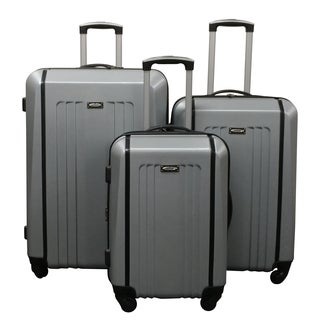 Kemyer Silver Lightweight 3-piece Hardside Spinner Luggage Set
