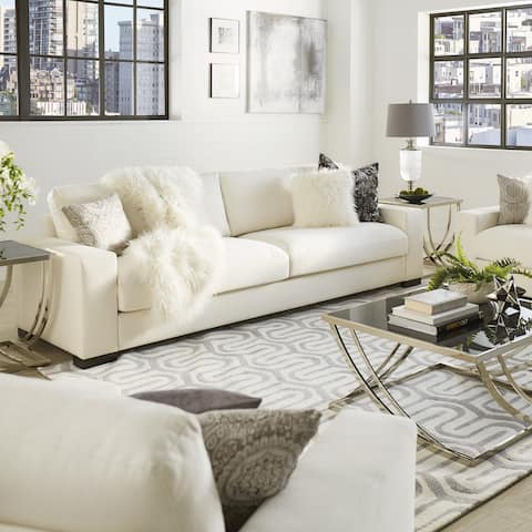 Lionel White Cotton Down-filled Extra-long Deep Seat Sofa by iNSPIRE Q Artisan
