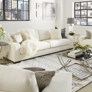 Lionel White Cotton Down Filled Extra Long Deep Seat Sofa By INSPIRE Q  Artisan
