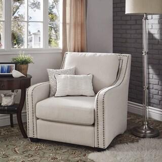 Faizah White Linen Nailhead Sloped Arm Chair by iNSPIRE Q Artisan