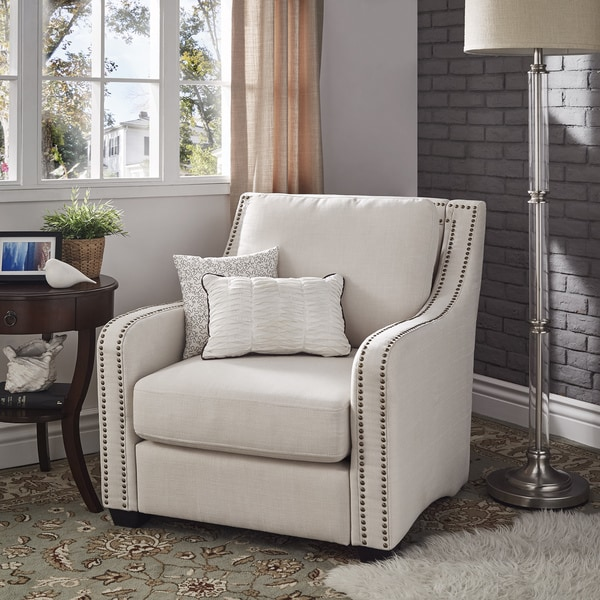 Charmant Faizah White Linen Nailhead Sloped Arm Chair By INSPIRE Q Artisan
