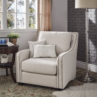 Genial Faizah White Linen Nailhead Sloped Arm Chair By INSPIRE Q Artisan