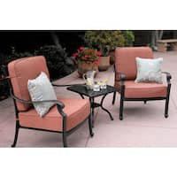 Darlee St. Cruz Black Cast Aluminum 3-piece Cushioned Conversation Set