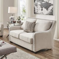 Faizah White Linen Nailhead Sloped Arm Loveseat by iNSPIRE Q Artisan