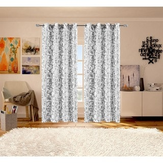 Ella Sheer Jacquard Window Curtain Grommet Panel Pair