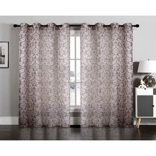 Hannah Semi Sheer Faux Linen Grommet Window Curtain Panel Pair
