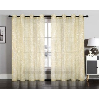 Vivian Semi Sheer Faux Linen Grommet Window Curtain Panel Pair