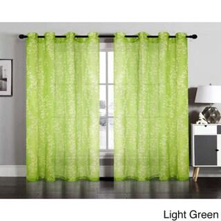 Vivian Semi Sheer Faux Linen Grommet Window Curtain Panel Pair
