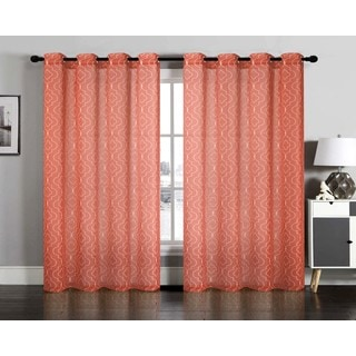 Lattice Semi Sheer Faux Linen Grommet Window Curtain Panel Pair