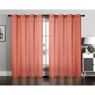Lattice Semi Sheer Faux Linen Grommet Window Curtain Panel Pair
