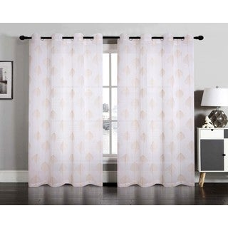 Jennifer Embroidered Faux Linen Grommet Window Curtain Panel Pair