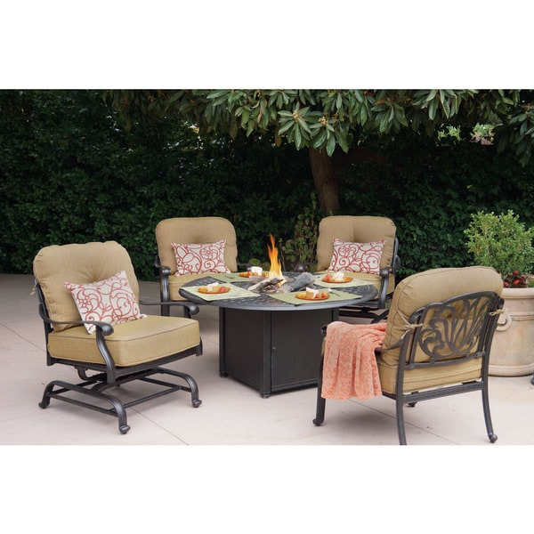 piece conversation set 52 inch round propane fire pit chat table