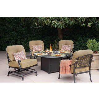 Gracewood Hollow Shonagon Cast Aluminum 5-Piece Conversation Set with 52-Inch Round Propane Fire Pit /Chat Table