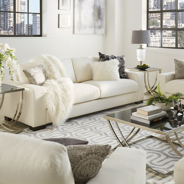 Lionel Modern White Fabric Down Filled Sofa By INSPIRE Q Artisan