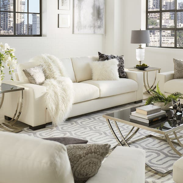 Lionel Modern White Fabric Down Filled Sofa By Inspire