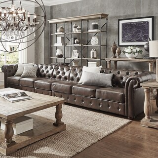 Knightsbridge Bonded Leather Oversize Extra Long Tufted Chesterfield Sofa by iNSPIRE Q Artisan