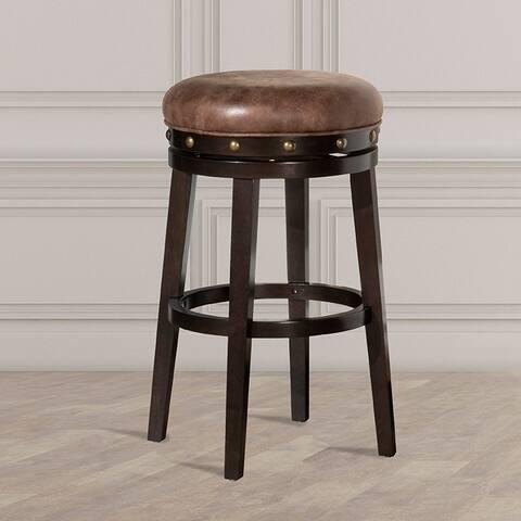 HIllsdale Furniture Benard Backless Bar Stool, Deep Smoke Brown, Brown Fabric