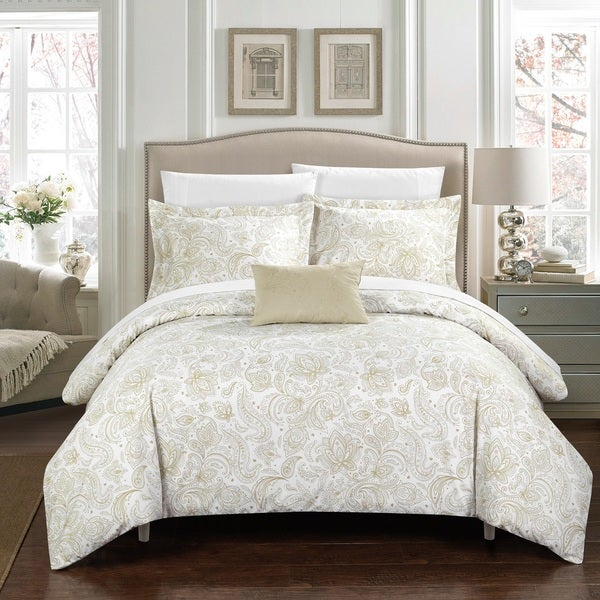 Chic Home 4-Piece Newark Park Beige Duvet Cover Set
