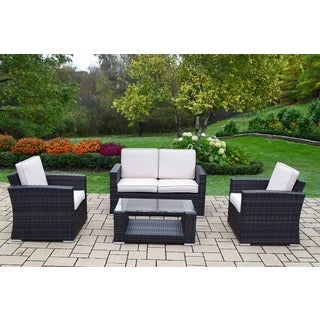 Kalapana Resin Wicker Cushioned Sectional Set with Deep Seat Sofa in Black