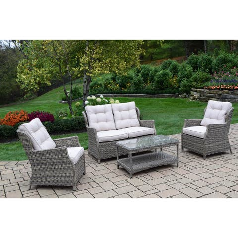 Kalapana Resin Wicker 4 Pc Deep Seat Set with Cushioned Sectional and Sofa