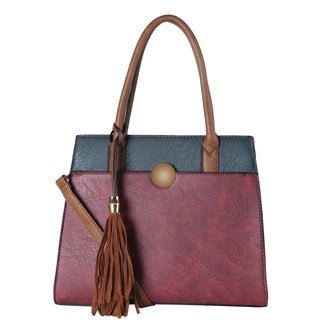 Diophy Faux Leather Front Magnet Pocket with Tassels Decor 3-tone Tote Bag