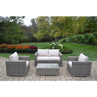 Kalapana Resin Wicker 4 Pc Cushioned Sectional Conversation Set with Deep Seat Sofa