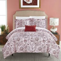 Chic Home 4-Piece Newark Park Brick Red Duvet Cover Set