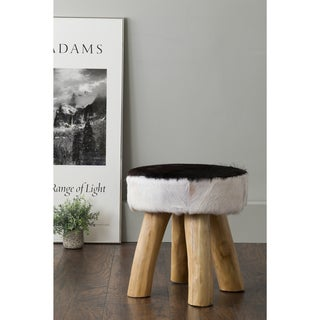East At Main's Mize Black Round Natural Hide Stool