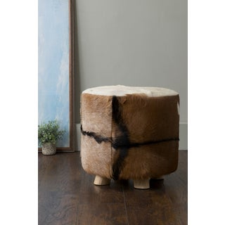 East At Main's Durant Brown Round Natural Hide Stool