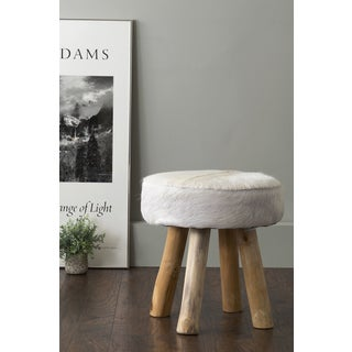 East At Main's Morton White Round Natural Hide Stool