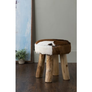 East At Main's Morton Brown Round Natural Hide Stool