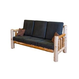 Rustic White Cedar Log Sofa- Hunter Green Microfiber
