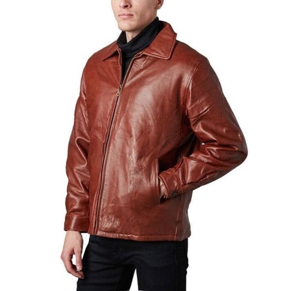 Tanners Avenue Men's Ranch Pebble Cognac Lamb Leather Jacket