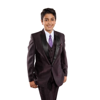Tazio Boys' Purple Poly/Rayon 5-piece Suit Set