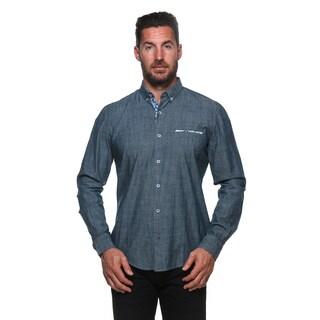 Isaac B. Men's Blue Cotton Long-sleeved Button Down Shirts
