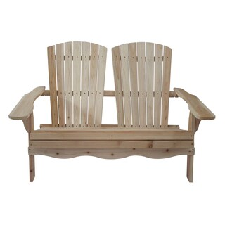 Natural Wood Folding Double Adirondack Bench