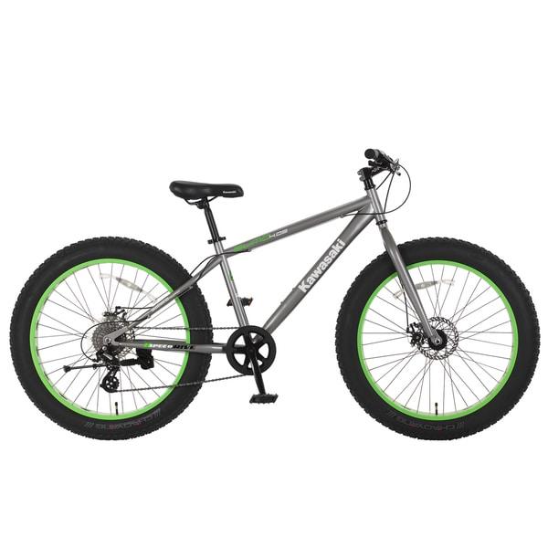 Kawasaki Sumo Grey and Green Steel 26-inch x 4-inch Wheels Fat Tire Bike