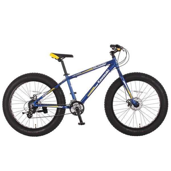 Kawasaki Mihara Blue/ Yellow 26-inch Aluminum Fat Tire Bike