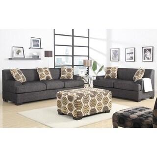 Ash Black Fresno 3-piece Sectional Sofa Set W/Ottoman